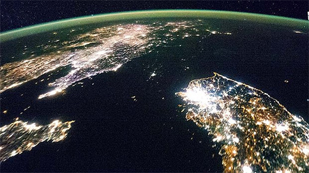 North Korea at night, as seen from space