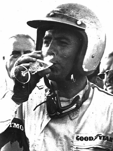 Victory champagne after the 1966 Grand Prix in Japan.
