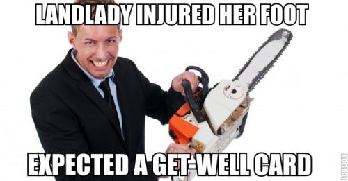Landlady injured her foot