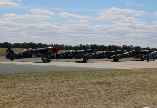 Yakovlev Yak-3M, Supermarine Spitfire Mk. VIII & Mk. XVI and Hawker Hurricane Mk. XII - Warbirds Downunder 2018 (Day One)