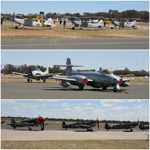 Cessna O-1 Bird Dogs, North American T-28 Trojan, Gloster Meteor F.8, Yakovlev Yak-3M (modified with a radial engine), Supermarine Spitfire Mk. VIII & Mk. XVI - Warbirds Downunder 2018 (Day One)