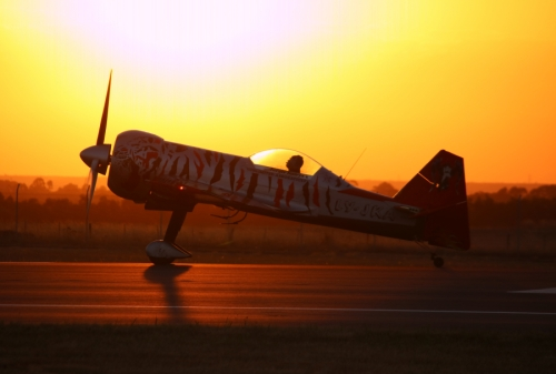 The sun sets at Avalon behind Lithuanian aerobatic pilot Jurgis Kairys in his Juka aircraft (developed and manufactured by Jurgis himself!) - Friday evening at the Avalon Australian International Airshow 2019